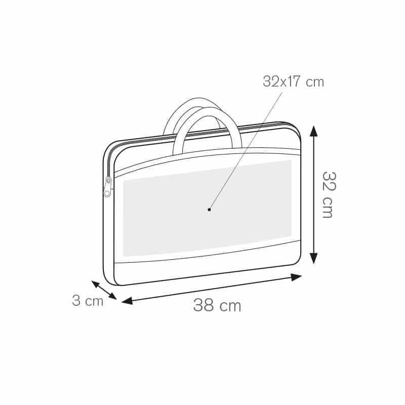 Montry borsa portacomputer imbottita nylon 600d personalizzati - ph205 misure tecniche