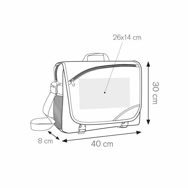 Quota borsa bicolore portadocumenti nylon 600d personalizzati - ph224 misure tecniche