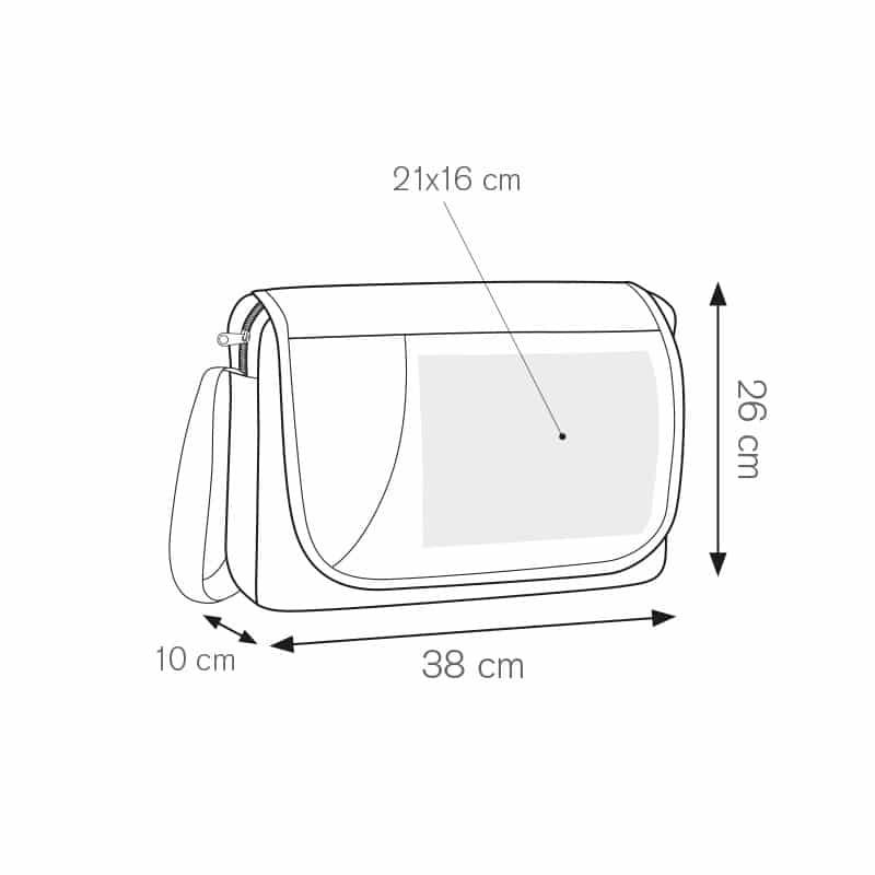 Try borsa portadocumenti bicolore nylon 600d personalizzati - ph231 misure tecniche