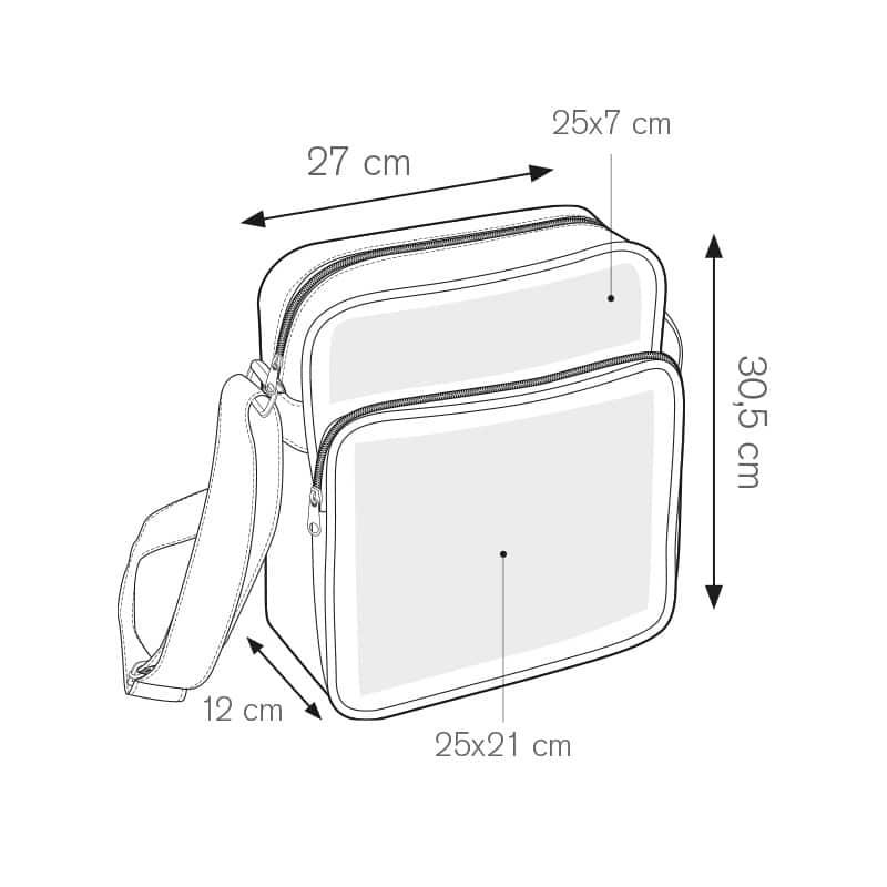 Village borsello tracolla in ecopelle personalizzati - pg375 misure tecniche