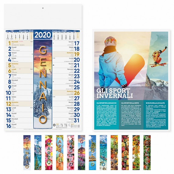 """Calendario 29 x 47 cm Illustrato """"4 STAGIONI"""" personalizzato con il tuo logo - PA115"""