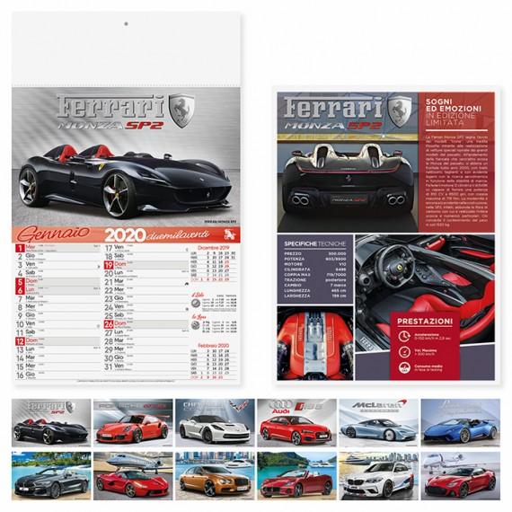 """Calendario 29 x 47 cm Illustrato """"AUTO SPORTIVE"""" personalizzato con il tuo logo - PA162"""