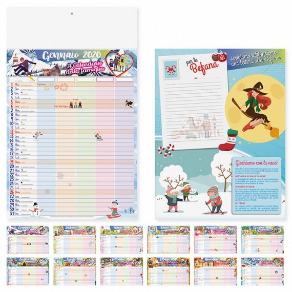 """Calendario 29 x 47 cm Illustrato """"FAMIGLIA"""" personalizzato con il tuo logo! - PA092"""