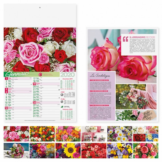 """Calendario 29 x 47 cm Illustrato """" FIORI"""" personalizzato con il tuo logo - PA103"""