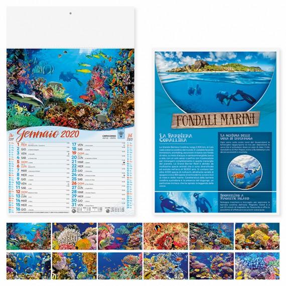 """Calendario 29 x 47 cm Illustrato """"FONDALI MARINI"""" personalizzato con il tuo logo - PA120"""