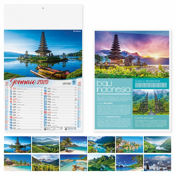 """Calendario 29 x 47 cm Illustrato """"PAESAGGI"""" personalizzato con il tuo logo - PA117"""