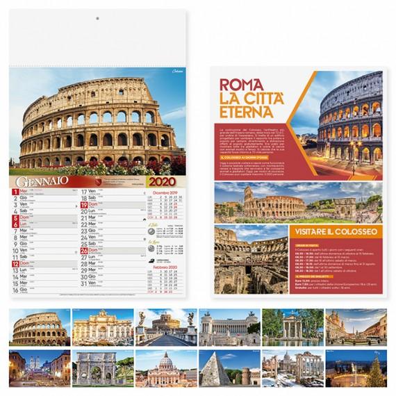 """Calendario 29 x 47 cm Illustrato """"ROMA"""" personalizzato con il tuo logo - PA109"""