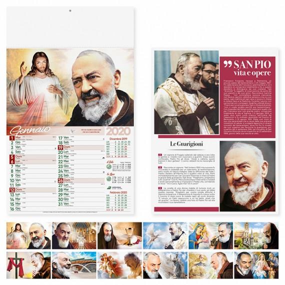 """Calendario 29 x 47 cm Illustrato """"SAN PIO"""" personalizzato con il tuo logo - PA100"""
