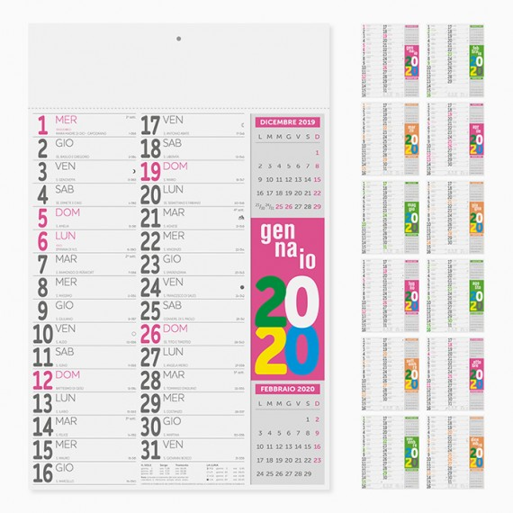 Calendario 31 x 48 cm Olandese FLUO personalizzatocon il tuo logo - PA503