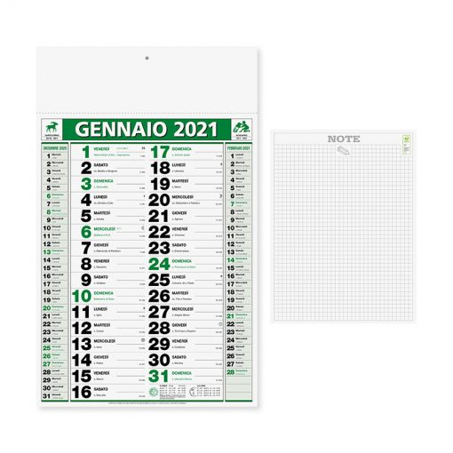 PA646 - Olandese mensile 12 fogli Verde PA646VE