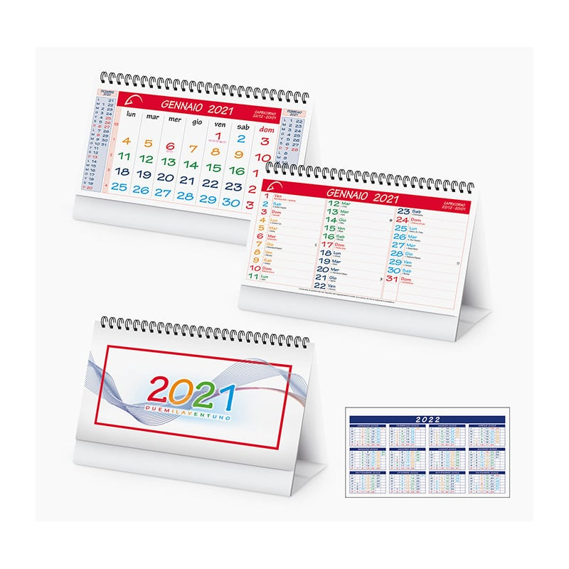 PA705 - MULTICOLOR TABLE calendarietto spiralato da tavolo
