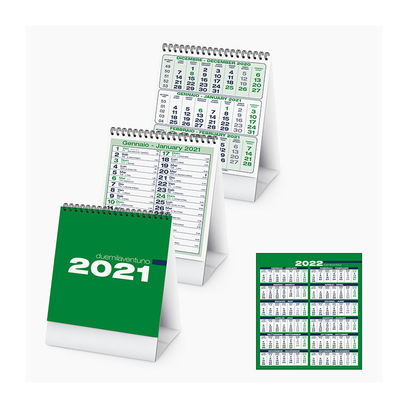PA745 - Calendarietto spiralato da tavolo Verde PA745VE