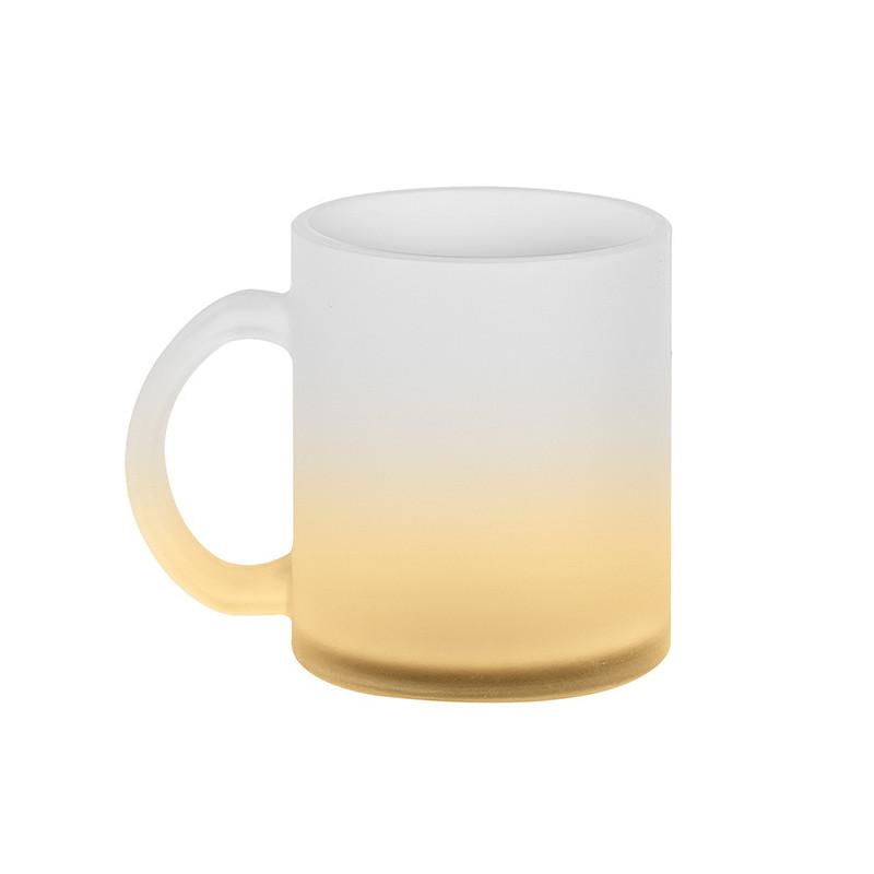 PC375 - Tazza vetro effetto ghiaccio fondo colorato Giallo PC375GI