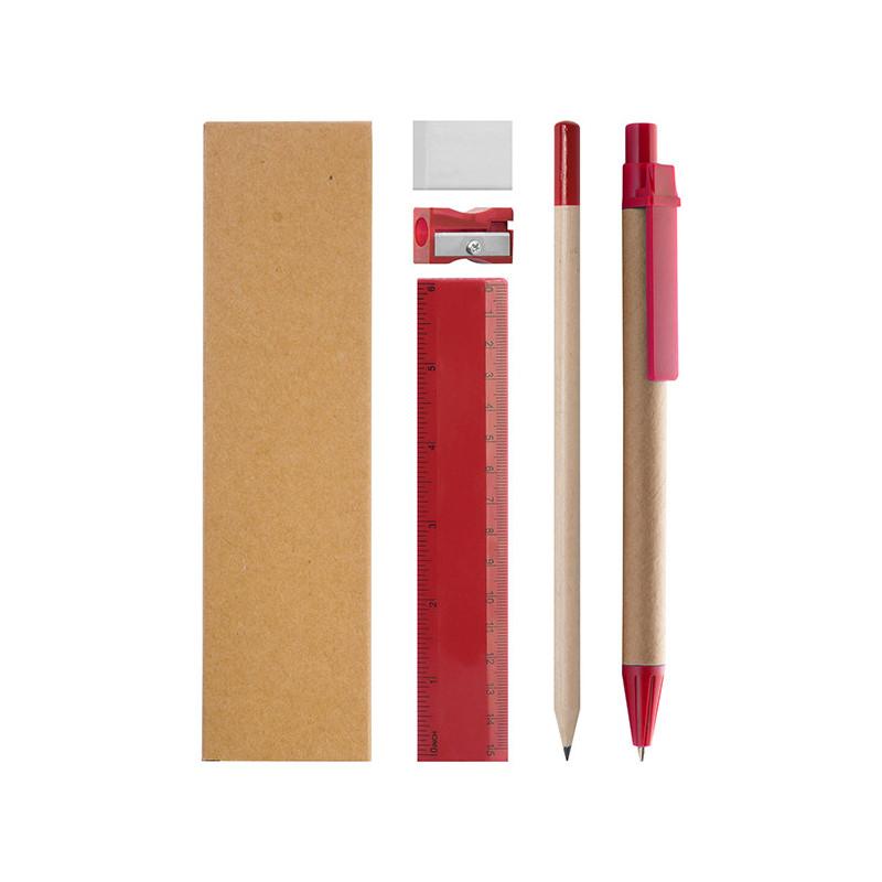 PD584 - Set penna + matita + righello + gomma + temperamatite Rosso PD584RO