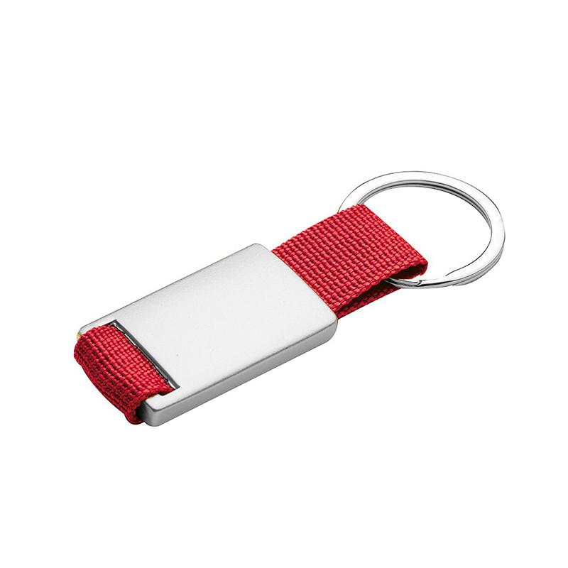 PE032 - Portachiavi ad anello piatto Rosso PE032RO