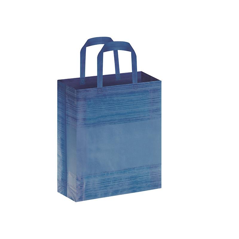 PG127 - Borsa shopping con soffietto effetto striato Blu PG127BL
