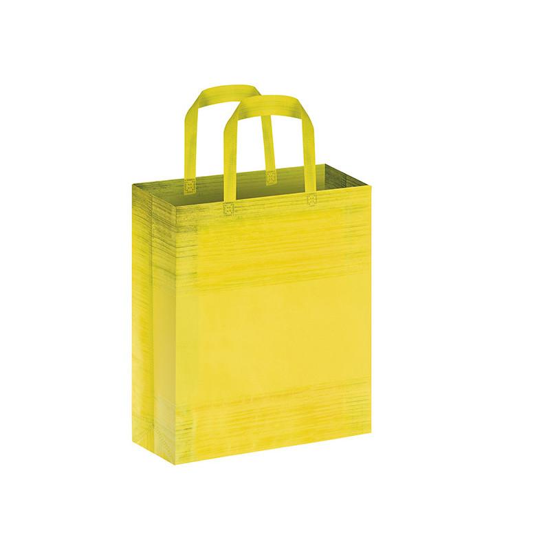 PG127 - Borsa shopping con soffietto effetto striato Giallo PG127GI
