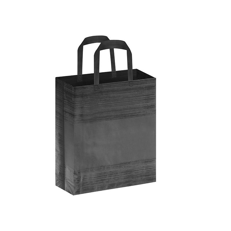 PG127 - Borsa shopping con soffietto effetto striato Nero PG127NE