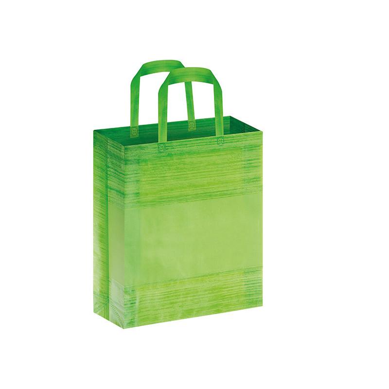 PG127 - Borsa shopping con soffietto effetto striato Verde Lime PG127VL