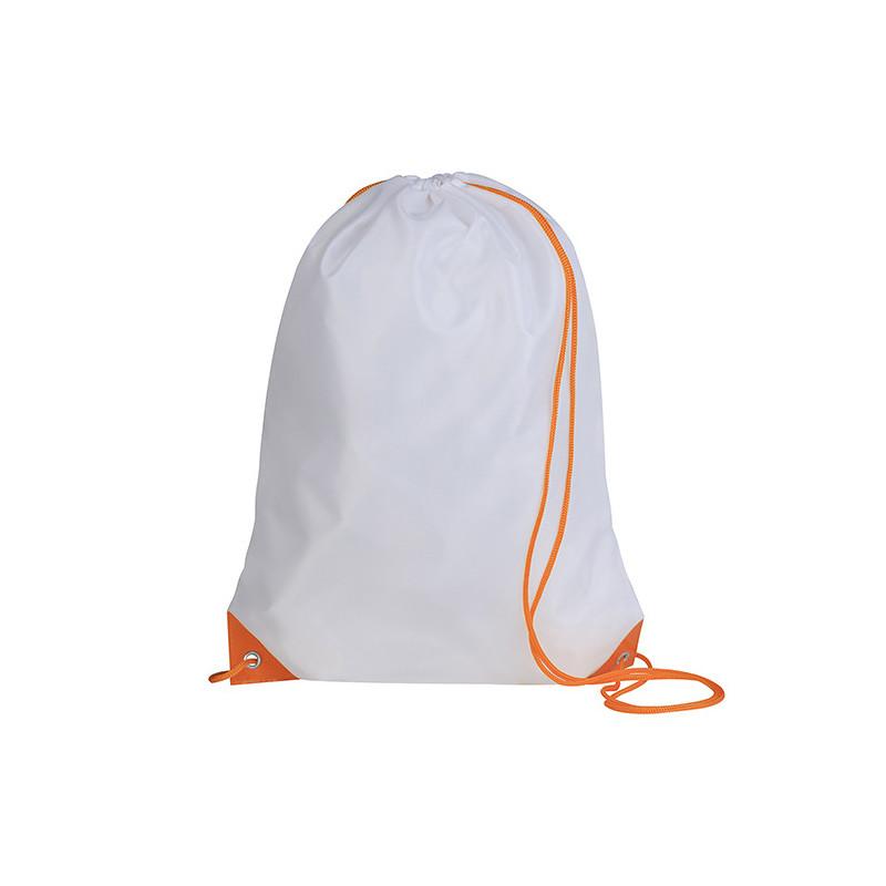 PG280 - Sacca zaino nylon 210d Bianco Arancio PG280WA