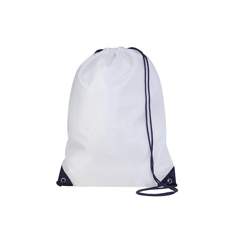 PG280 - Sacca zaino nylon 210d Bianco Blu PG280WB