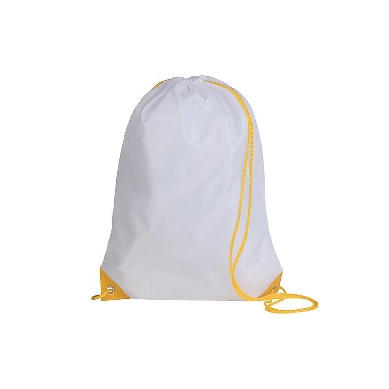 PG280 - Sacca zaino nylon 210d Bianco Giallo PG280WG