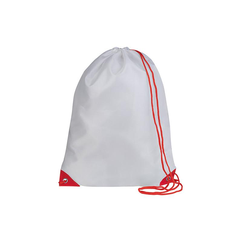 PG280 - Sacca zaino nylon 210d Bianco Rosso PG280WR
