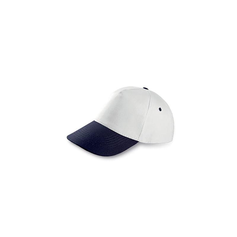 PM105 - Berretto 5 pannelli cotone twill 108/58 Bianco Blu PM105WB